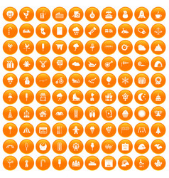 100 childrens parties icons set orange vector