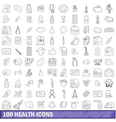 100 health icons set outline style vector image