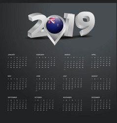 2019 calendar template grey typography with new vector image