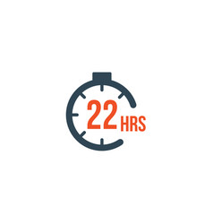 22 hours round timer or countdown timer icon vector