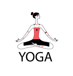 a sitting girl sitting yoga vector image