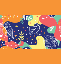 abstract blots floral shapes and leaves seamless vector image