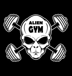 alien gym alien head with crossed barbells design vector image