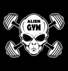 alien gym head with crossed barbells design vector image
