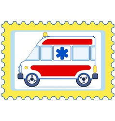 Ambulance postage stamp vector image