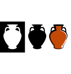ancient amphora image in burgundy color and vector image