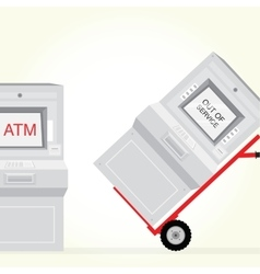 Atm machine is out service isolated vector