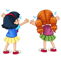 Back of two crying girls vector