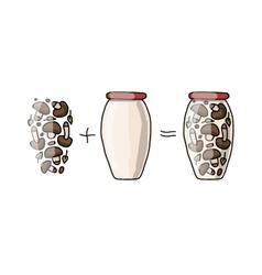 Bank of pickled mashrooms sketch for your design vector