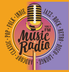 banner for music radio with golden microphone vector image