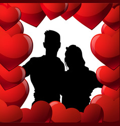 black couple silhouette in red hearts shape man vector image