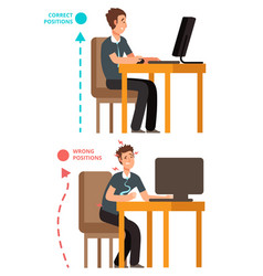 Body incorrect and correct person sit correct or vector