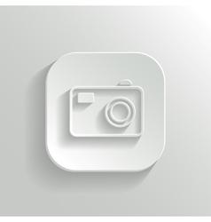 Camera icon - white app button vector image