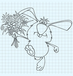 cartoon rabbit with a bouquet of flowers drawn vector image