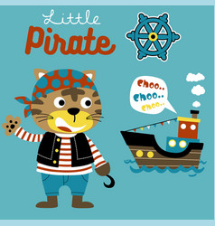 Cat pirate cartoon with sailboat and vector