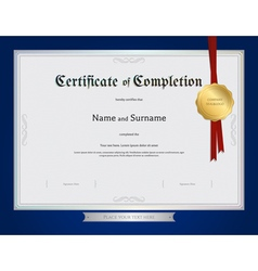 Certificate completion template blue border vector