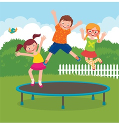 Children jumping on the trampoline vector