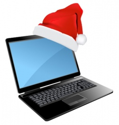 Christmas laptop design vector image