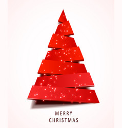 christmas tree made red paper on white vector image