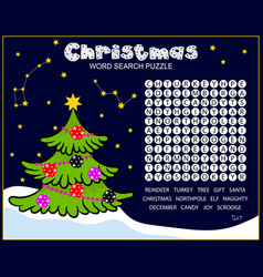 Christmas word search puzzle for kids vector