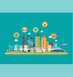 cityscape with infrastructure transportation and vector image