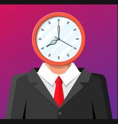 clock on businessman head clock face vector image