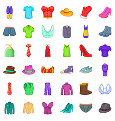 Clothing accessories icons set cartoon style vector