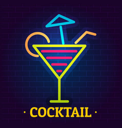 cocktail logo flat style vector image