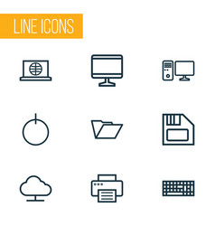 Computer outline icons set collection of printer vector