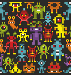 Cover print with pixel monsters vector