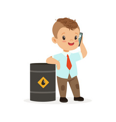 Cute little boy businessman talking on smartphone vector