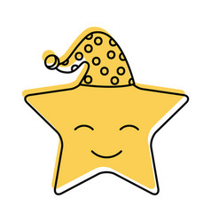 Cute stars with sleeping hat vector