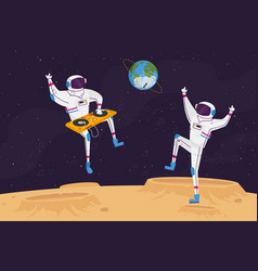 Disco party on alien planet or moon surface vector