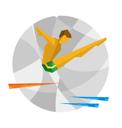 Diver jumps from the tower on mosaic background vector
