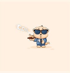 Dog cub in business suit sunglasses smoking cigar vector