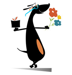 dog with flowers and a present box vector image