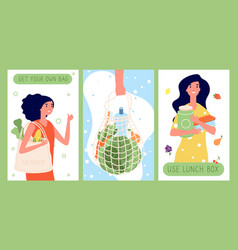 eco lifestyle cards zero waste using fabric vector image