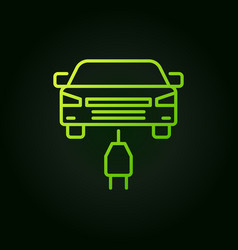 electric car with plug green icon in vector image