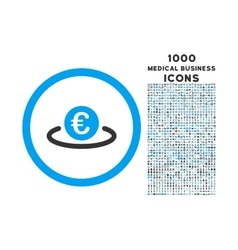 Euro Placement Rounded Icon with 1000 Bonus Icons vector
