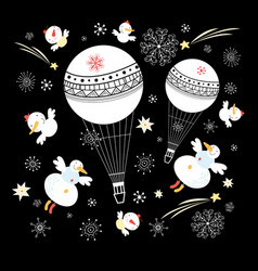 festive balloons and snowmen vector image
