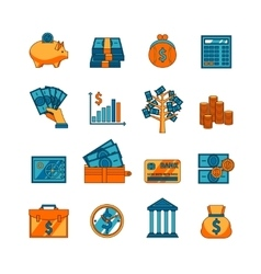Finance business flat icons set vector image