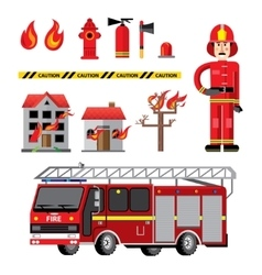 Fire department flat icons composition vector