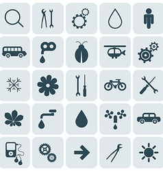 Flat Design Rounded Square Icons Set vector image