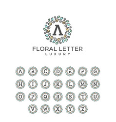 floral letter pack concept template vector image
