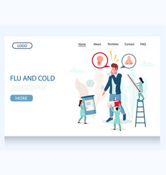 Flu and cold website landing page design vector