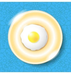 Fried Egg Icon Isolated on Blue vector image