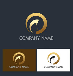gold round arrow abstract company logo vector image