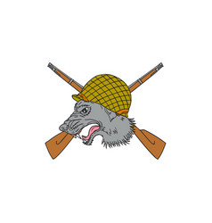 Grey wolf head world war 2 helmet drawing vector