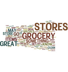 Grocery stores text background word cloud concept vector