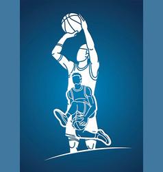 group basketball players action cartoon sport vector image